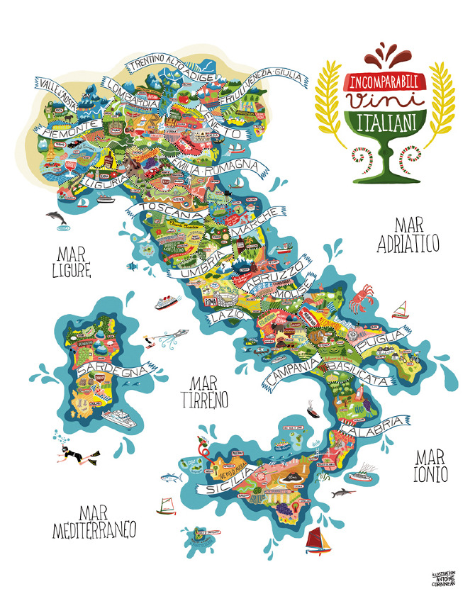 Regional Italy Map.Antoine Corbineau Regional Italian Food And Wine Map Paintings